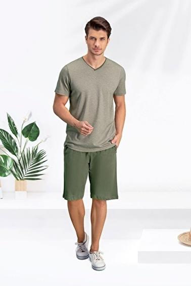 Arnetta Arnetta Melange Yeşil Erkek Bermuda Takım Yeşil